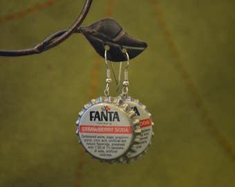 Vintage Soda Cap Earrings - Fanta Strawberry