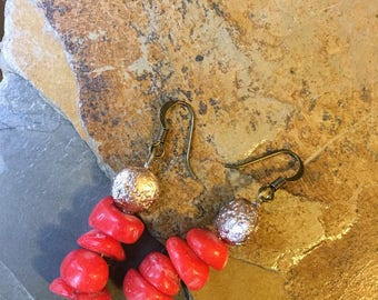 Perfect Red Coral Earrings
