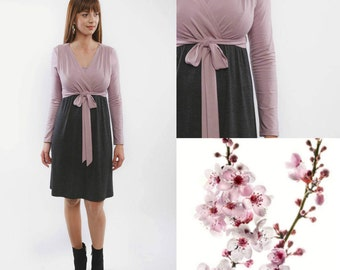 Pink-grey nursing dress
