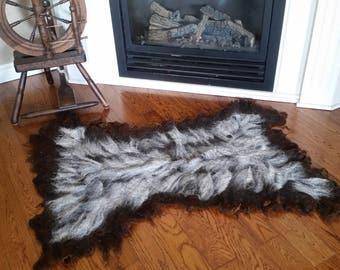 Unbearskin Rug-alpaca and corriedale wool felted rug