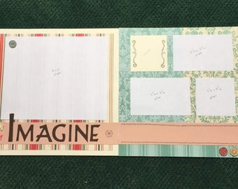 IMAGINE Pre-made Scrapbook 12x12 double page spread, childhood, love, memories