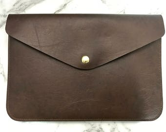 Personalised Monogram Leather Envelope Clutch in Chocolate Brown with detachable wrist/shoulder strap