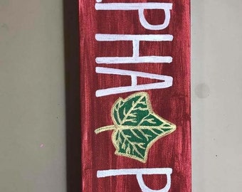 Alpha Phi Canvas with Ivy Leaf