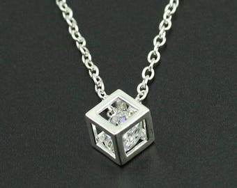 Crystal silver Necklace with energy of withe Zircon