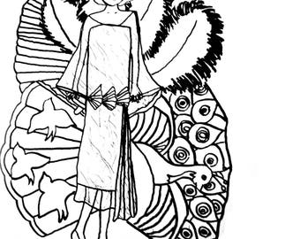 Flapper and Fans Coloring Page