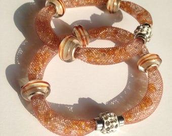 Tubular Mesh Bracelet with Rhinestones
