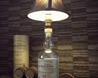Balvenie Caribbean Cask Whisky Bottle Lamp With Brown Shade Upcycled 70cl