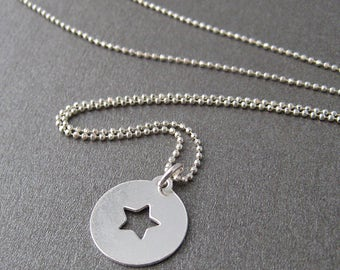 Silver 925/1000th star coin necklace