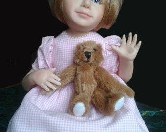 Vintage - porcelain doll with Teddy bear - decoration - ca. 30 cm sitting