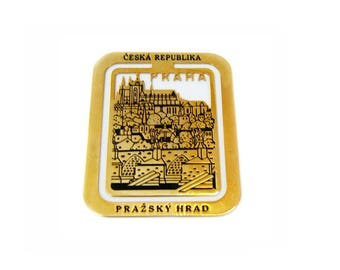 "Czech Republic Souvenir Gold Tone Metal Bookmark 2.25"" x 1 3/4"""