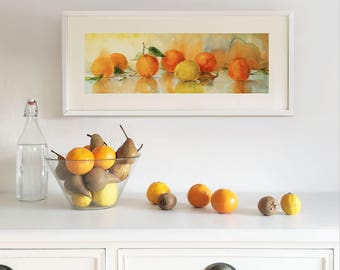 Original Watercolor Painting. Still life with lemons and oranges. Wall art. Home Decor. Kitchen Decor.