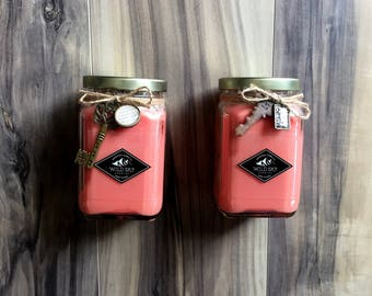 Black Cherry Scented Soy Candle - Premium Soy Candle / Gift / Engagement Gift / Bridesmaid / Wedding Gift /Handmade/ Pink Color