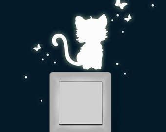 Light sticker cat Butterfly fluorescent