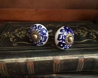 blue and white porcelain knobs set of 2 vintage cabinet pulls furniture accent