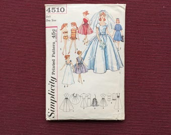 Simplicity 4510 Doll Bridal Gown & Trousseau Pattern for Barbie, Others