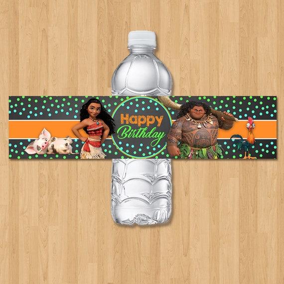 Moana Drink Label - Chalkboard Orange, Green & Blue - Moana Birthday Party - Moana Birthday Party Favors - Moana Water Bottle Label