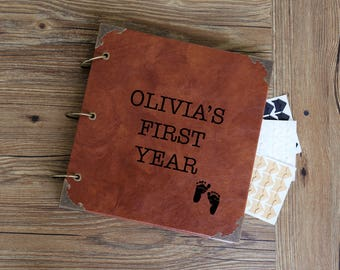 Personalized Baby Photo Album /baby first year photo album/Baby shower gift/Baby guest book