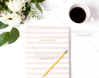 Pink and White Stripped Notebook with Coffee