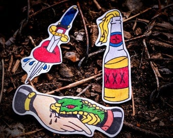 Tattoo Flash Hand Drawn Sticker Set
