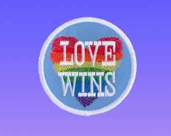 Love Wins Embroidered Patch, Iron on Patch, LGBT Badge, Gay Lesbeian Pride, Rainbow Heart