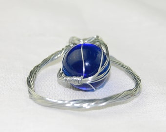 Blue Marble Wire Wrapped Pendant