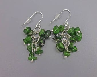 "1.5"" Chrome Diopside Cluster Earrings"