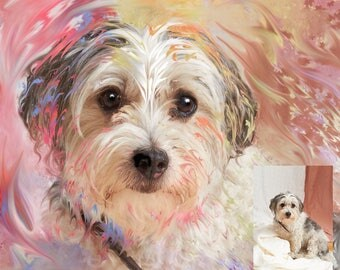 Digital Portrait of YOUR Pet- Custom Portrait - Beagle - Retriever - Poodle portrait - Corgi - Border Terrier - Bulldog - Pet Gift