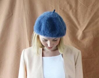 Vintage 1980s Blue Fluffy Beret Hat