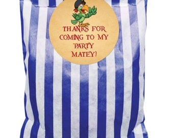 Dark Blue & White paper party bags and 60mm Pirate Theme! - 24 of each