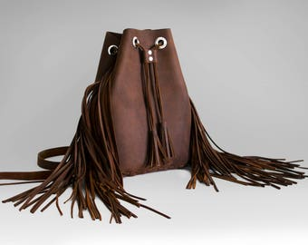 Brown Leather Backpack with fringes / Craft Item