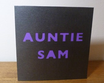 Personalised Name Paper Cut Card - New Aunty/Uncle
