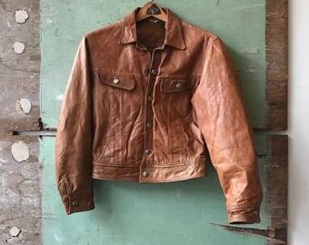 1960's Women's X-Small Leather Trucker Jacket