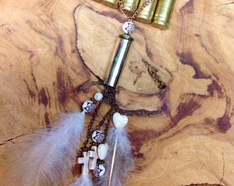 Beaded Feather Bullet Casing Necklace