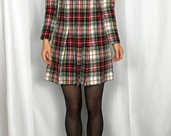 1950s plaid wool school dress