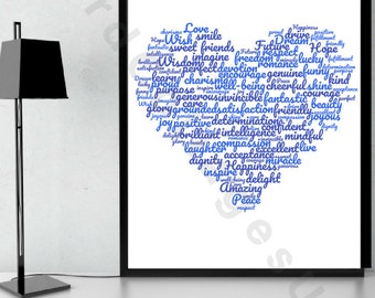 Blue Positivity themed word collage in heart shape A4