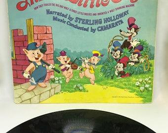 Vintage Vinyl LP, Walt Disney's The Three Little Pigs Disneyland Record, 3963, 1967