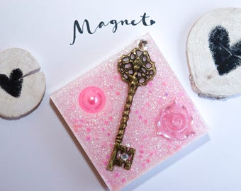 Vintage magnetic rose and key