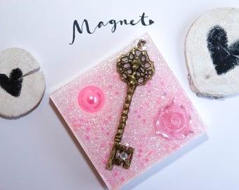 Vintage, magnet, rose, key, Fridge Magnet