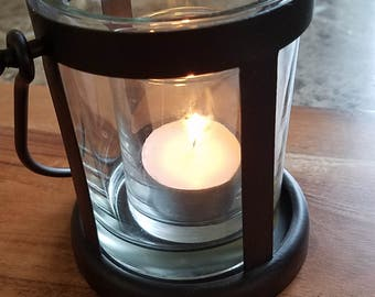Glass Lantern/candle holder with small glass votive holder