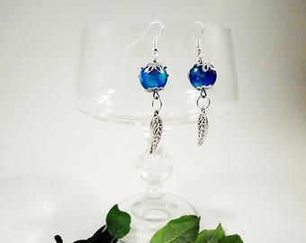 Hanging blue earrings, bead earrings, earrings shiny, handmade earrings, elegant woman earrings, silver plated earrings
