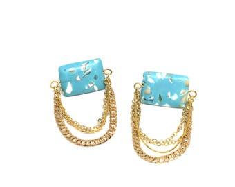 Gold Chain and Light Blue Swoop Earrings - FUZZ Fragment Earrings