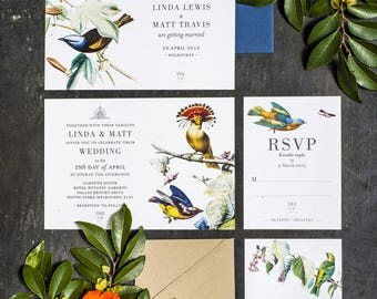 Set of 4 Wedding Invitation Printable, Botanical Bird