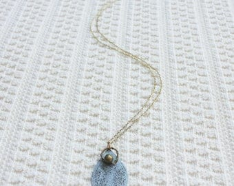 Blue Teardrop | Gold Necklace