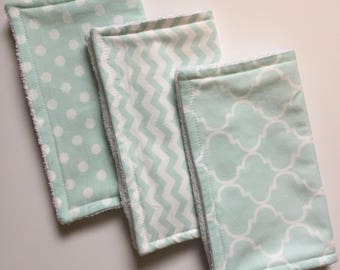 Baby Burp Cloths Set of 3, Baby Shower Gift, Gender Neutral Burp Cloths, Terry Burp Cloths, Burp Rags, Aqua/White, Baby Gift, FAST shipping