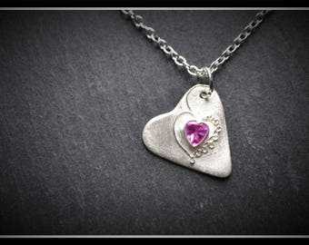 Detailed Heart CZ Pendant - Silver Precious Metal Clay (PMC), Handmade, Necklace - (Product Code: ACM014-17)