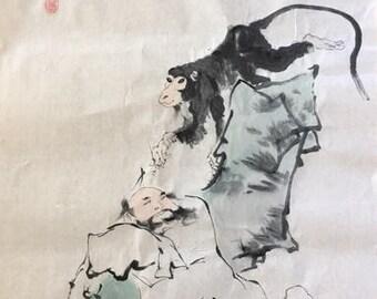 岭上阁云  Old Man and Monkey
