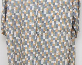 "Rare 90's Vintage ""PIERRE CARDIN"" Short-Sleeve Pattern Designer Shirt Sz: MEDIUM (Men's Exclusive)"
