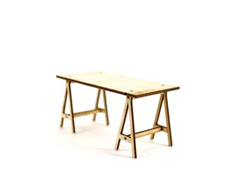 1:12 scale model of a Trestle Table