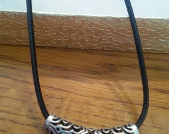 Black cord/ Silver scroll necklace
