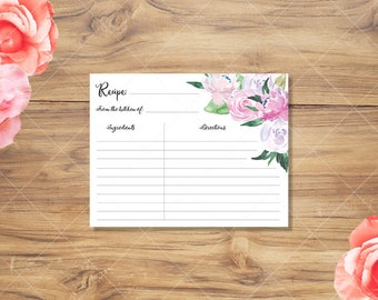 Recipe Card | Floral Watercolor Printable Recipe Card | Instant Download